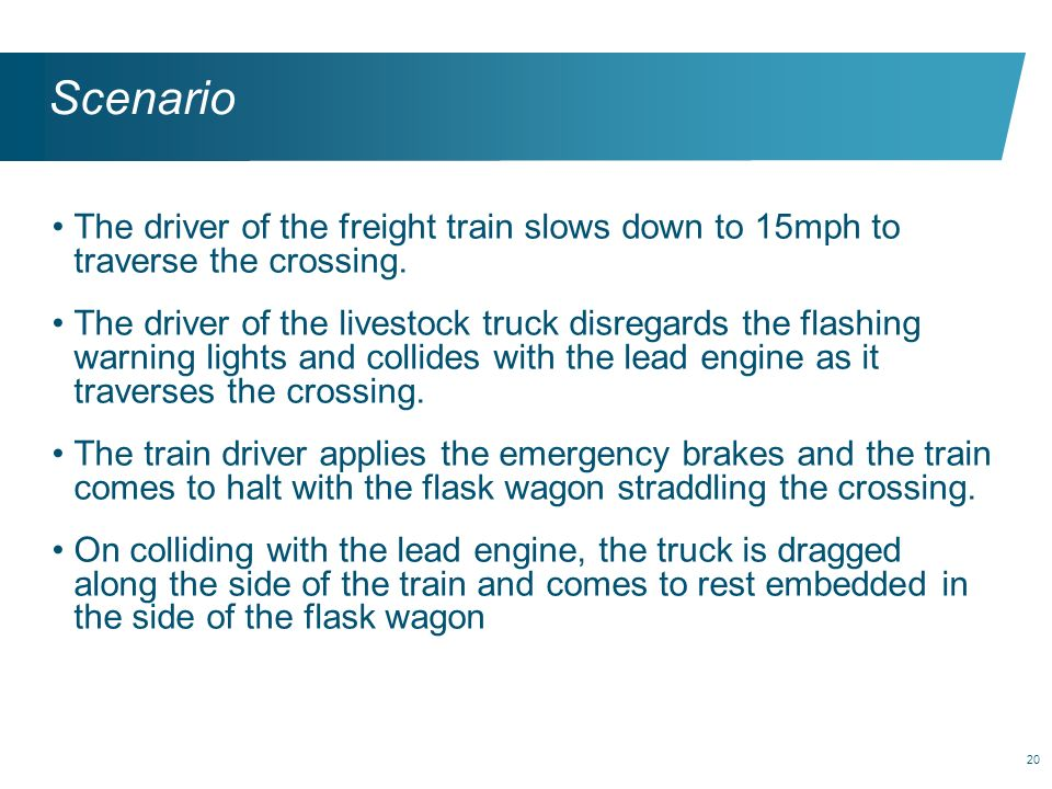 Scenario The driver of the freight train slows down to 15mph to traverse the crossing.