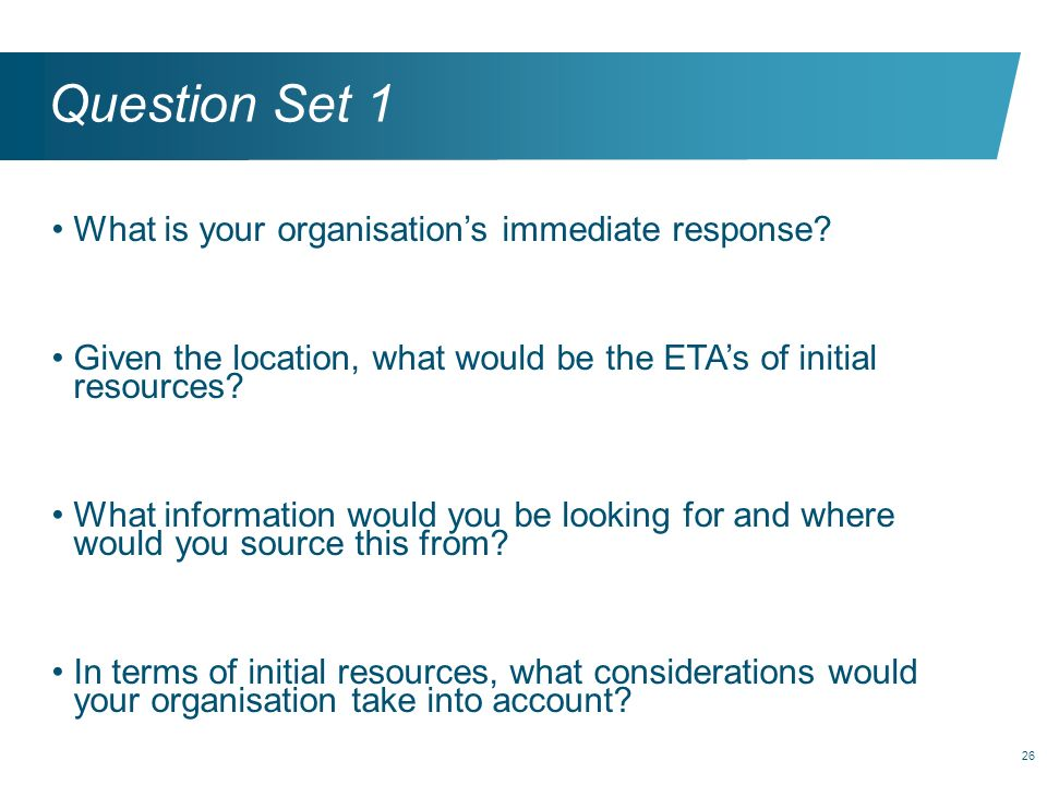 Question Set 1 What is your organisation's immediate response