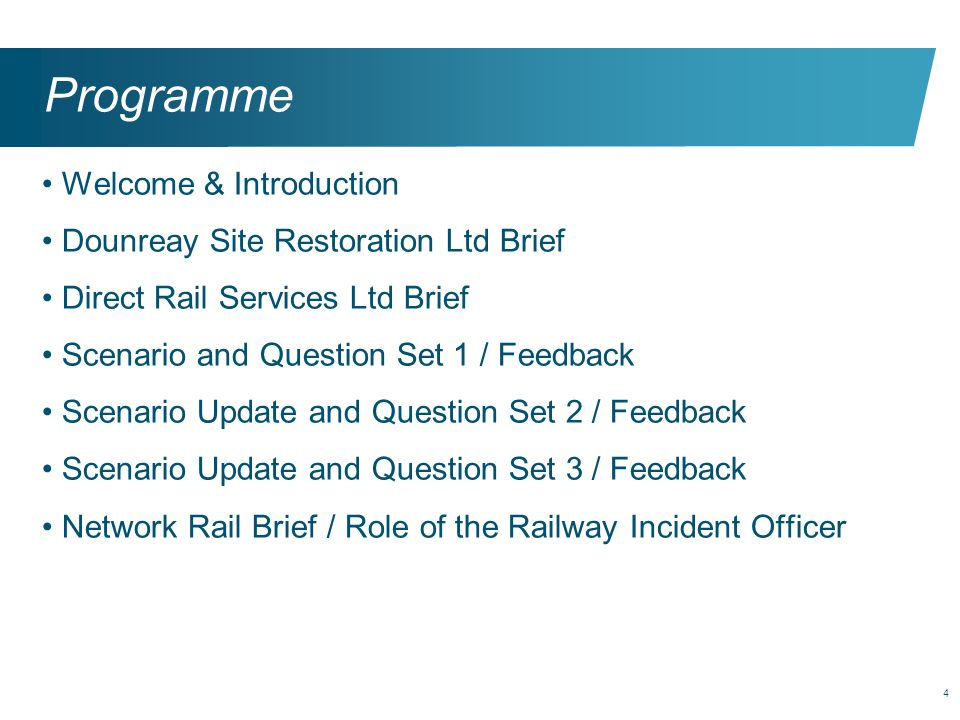 Programme Welcome & Introduction Dounreay Site Restoration Ltd Brief