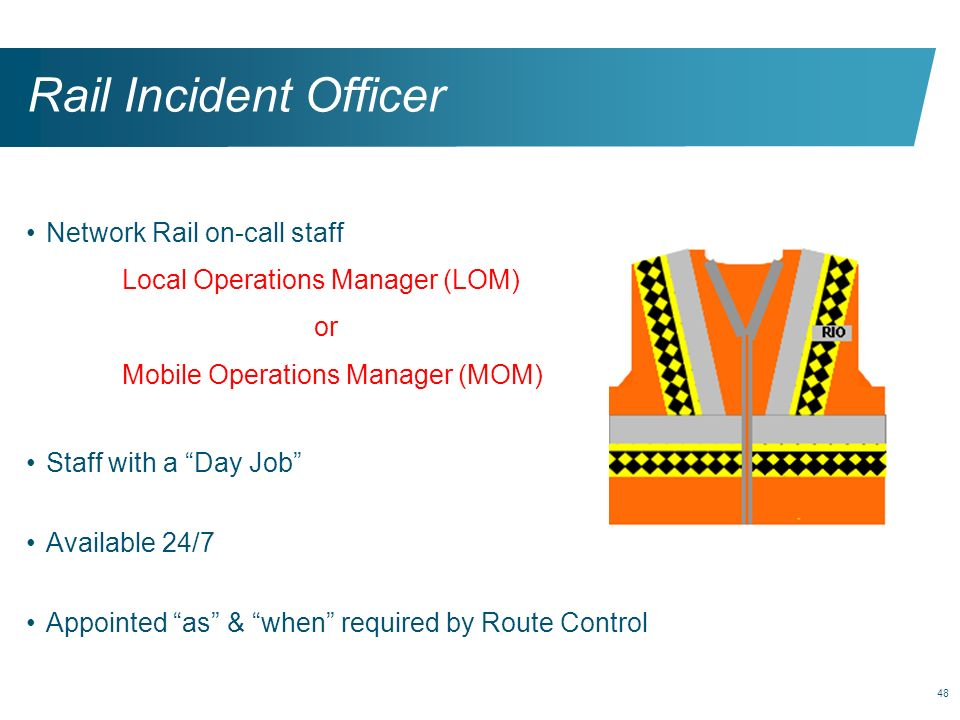 Rail Incident Officer Network Rail on-call staff
