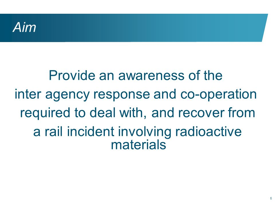 Provide an awareness of the inter agency response and co-operation