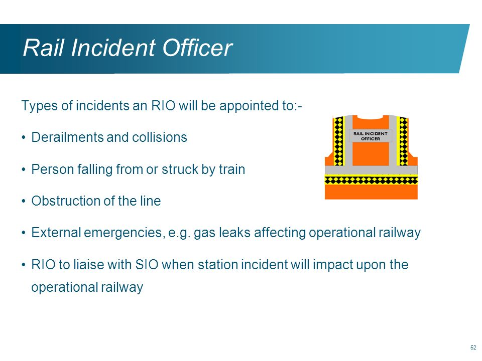 Rail Incident Officer Types of incidents an RIO will be appointed to:-