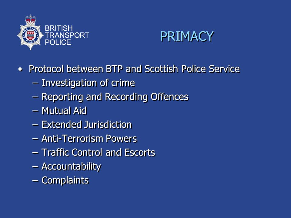 PRIMACY Protocol between BTP and Scottish Police Service