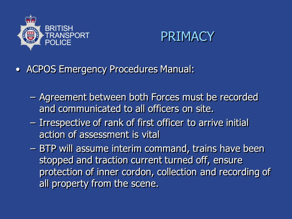 PRIMACY ACPOS Emergency Procedures Manual: