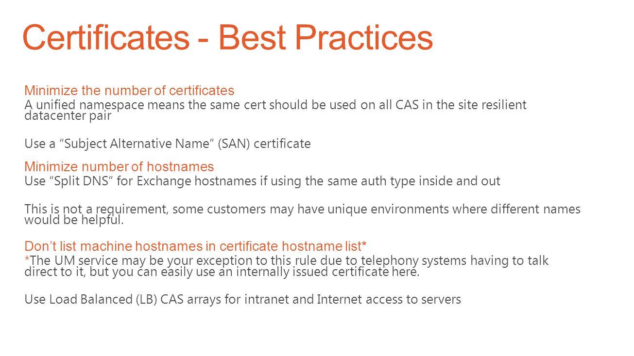 Certificates - Best Practices
