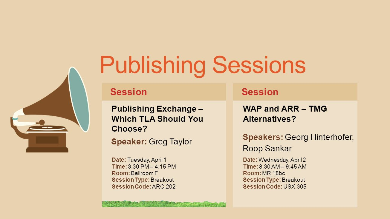 Publishing Sessions Session Session