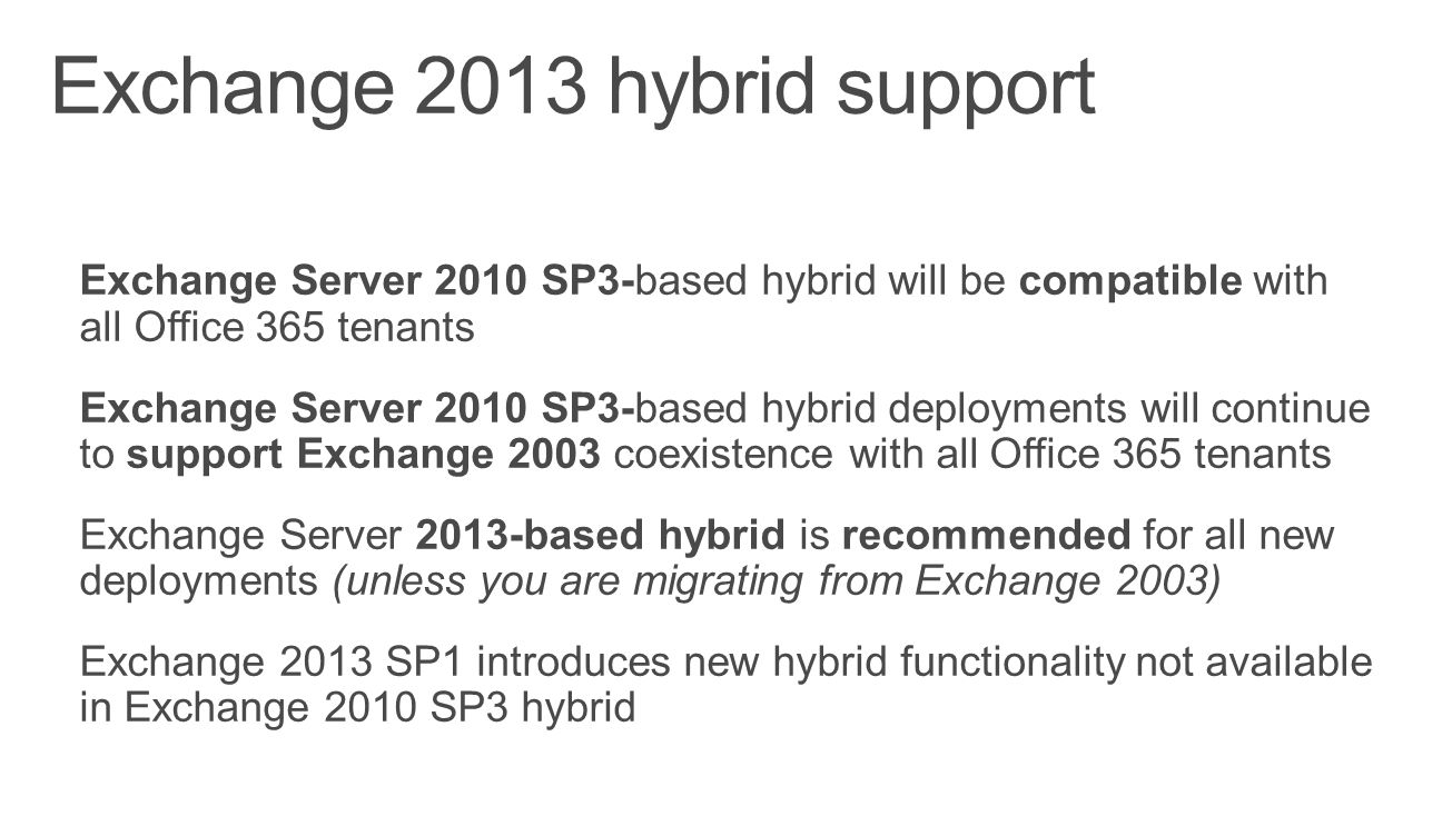 Exchange 2013 hybrid support
