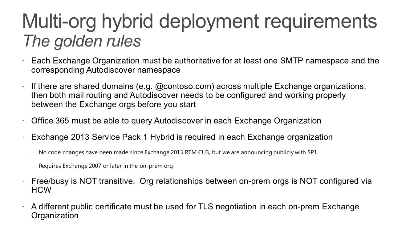 Multi-org hybrid deployment requirements The golden rules