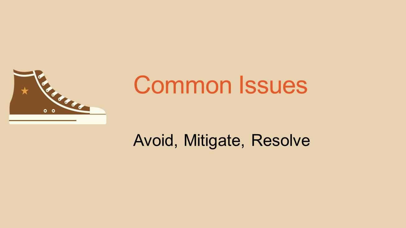 Common Issues Avoid, Mitigate, Resolve