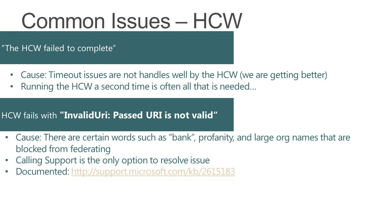 Microsoft Exchange 4/5/2017. Common Issues – HCW. The HCW failed to complete