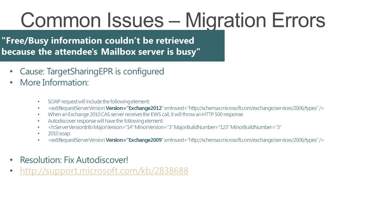 Common Issues – Migration Errors