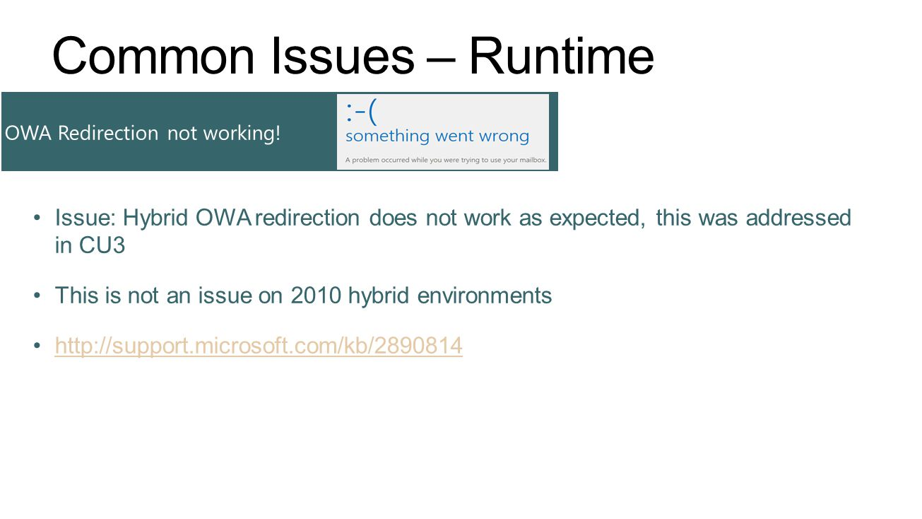 Common Issues – Runtime