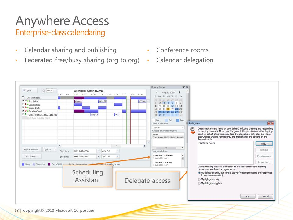 Anywhere Access Enterprise-class calendaring