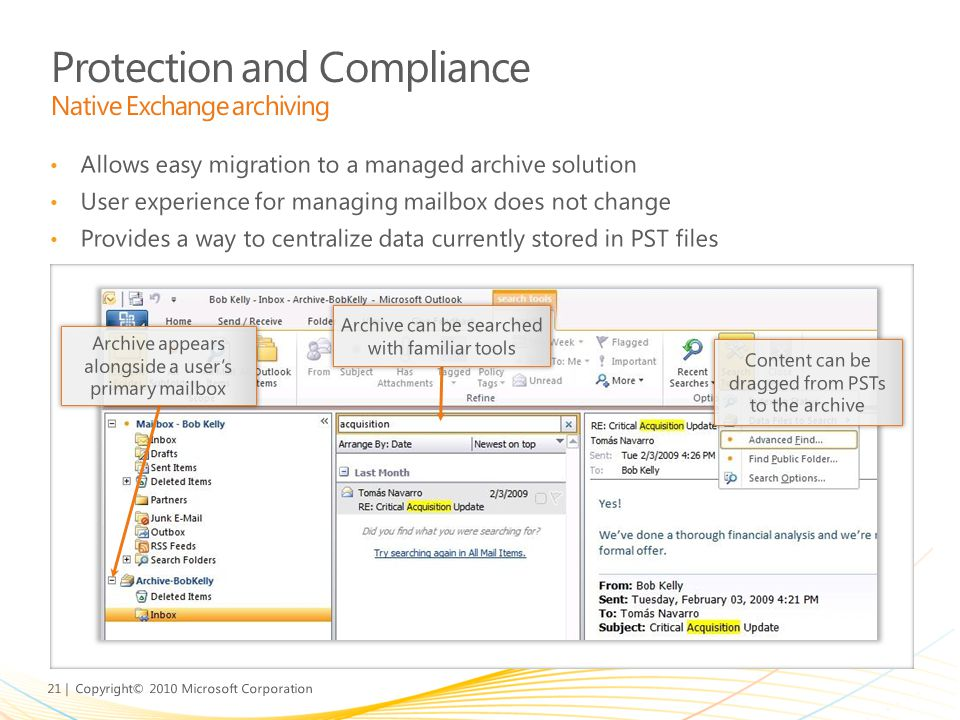 Protection and Compliance Native Exchange archiving