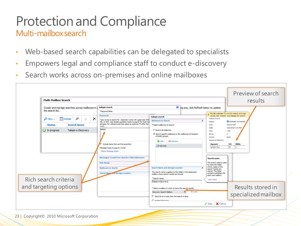 Protection and Compliance Multi-mailbox search