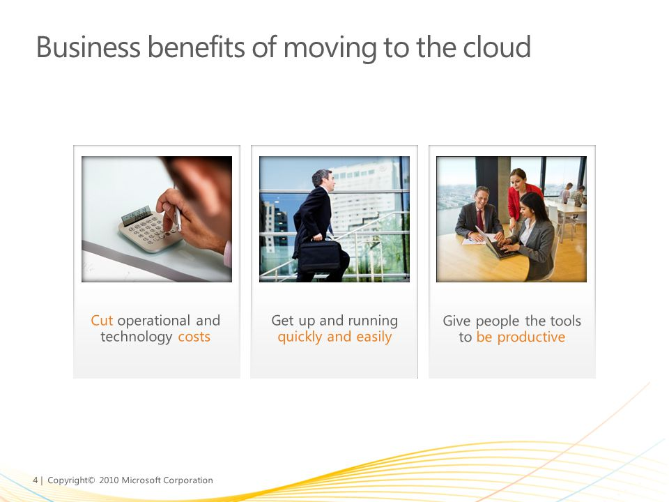 Business benefits of moving to the cloud
