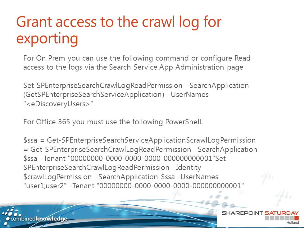 Grant access to the crawl log for exporting