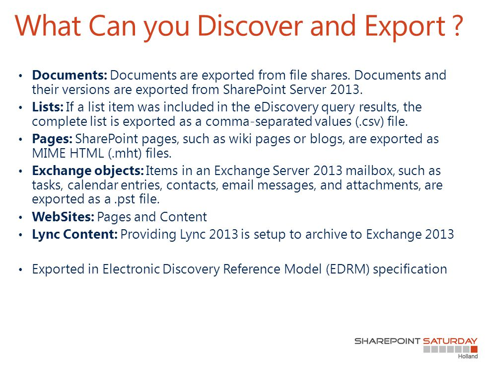 What Can you Discover and Export