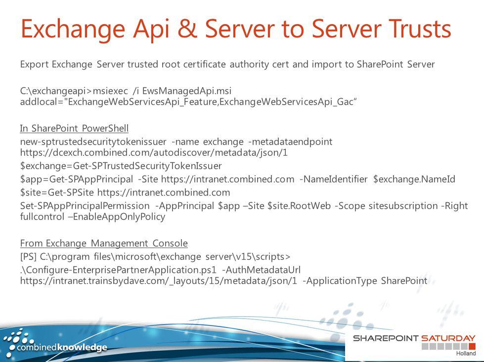 Exchange Api & Server to Server Trusts