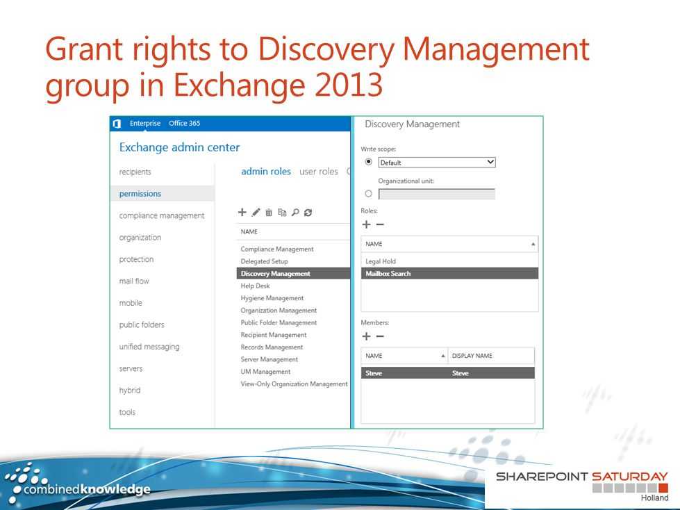 Grant rights to Discovery Management group in Exchange 2013