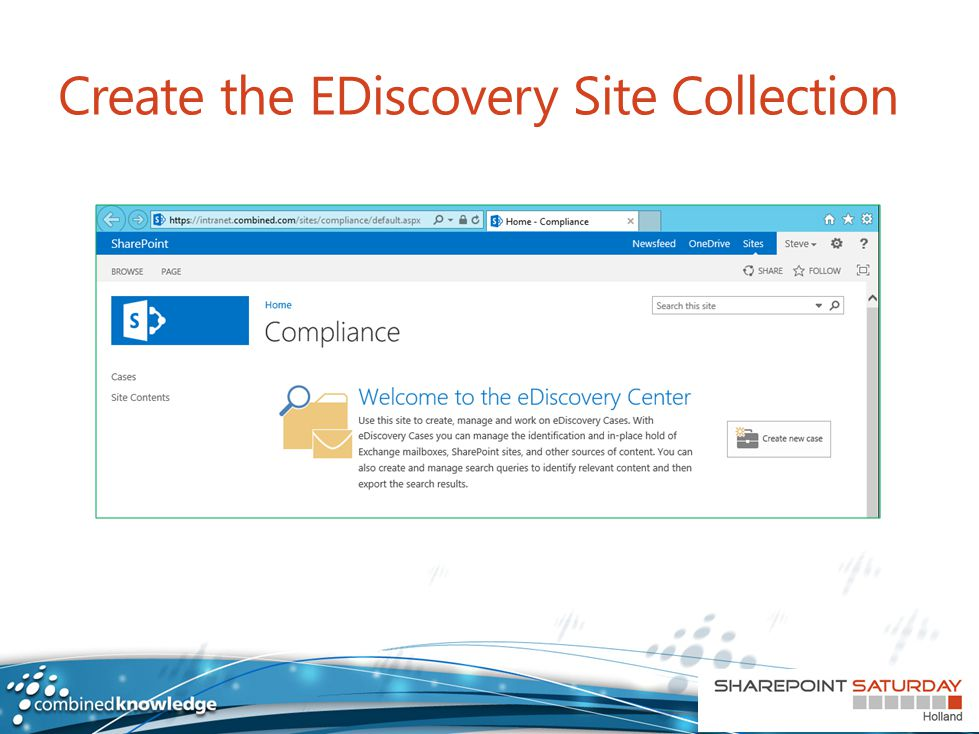 Create the EDiscovery Site Collection