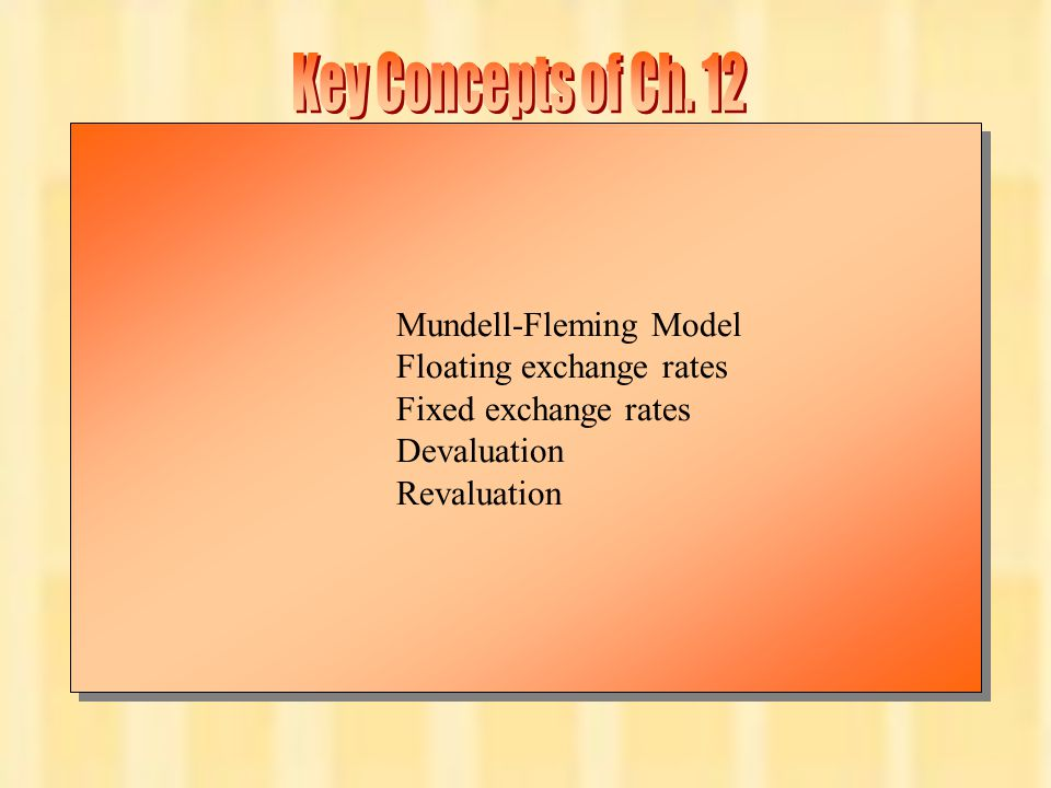 Key Concepts of Ch. 12 Mundell-Fleming Model Floating exchange rates