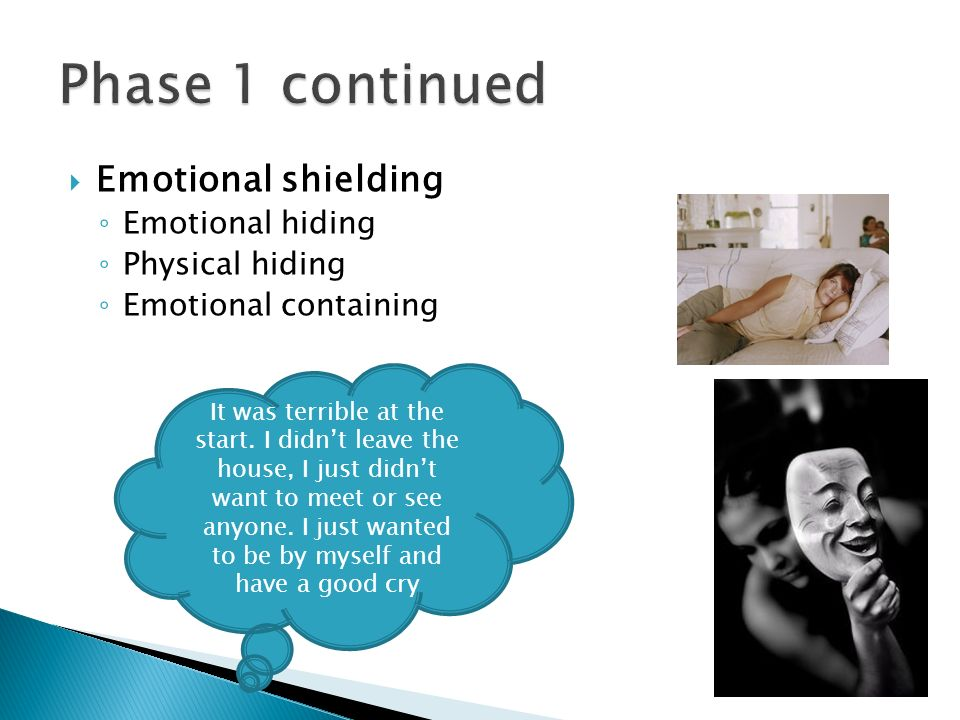 Phase 1 continued Emotional shielding Emotional hiding Physical hiding