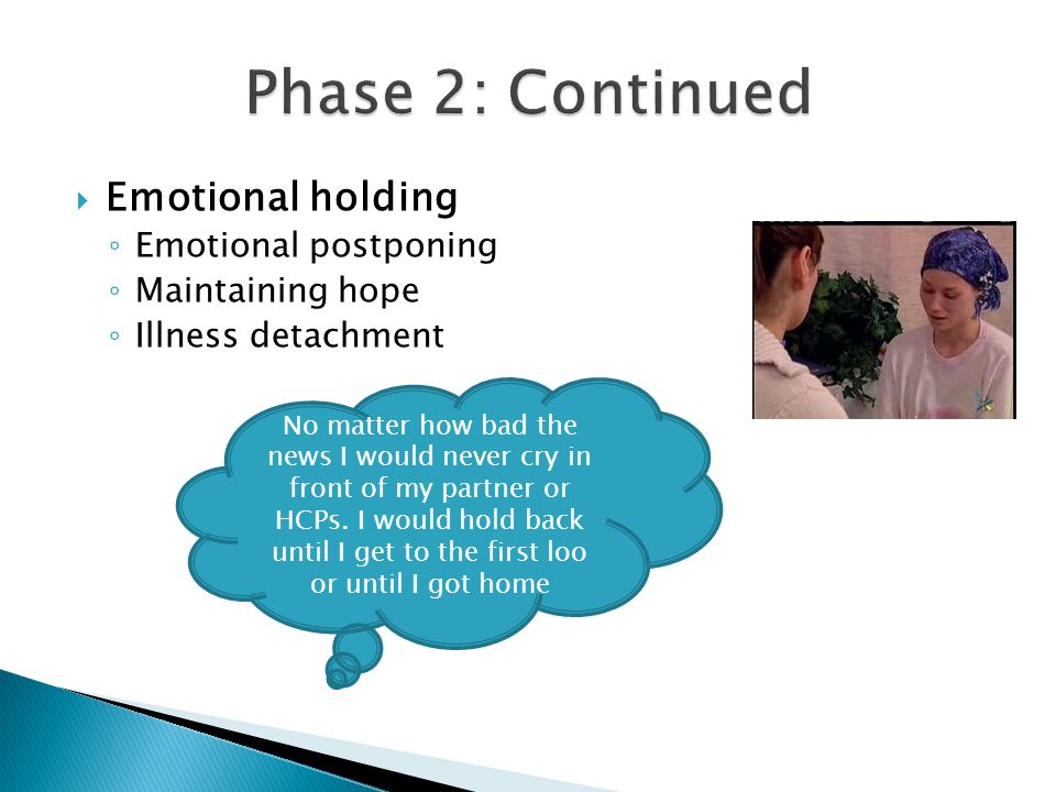 Phase 2: Continued Emotional holding Emotional postponing