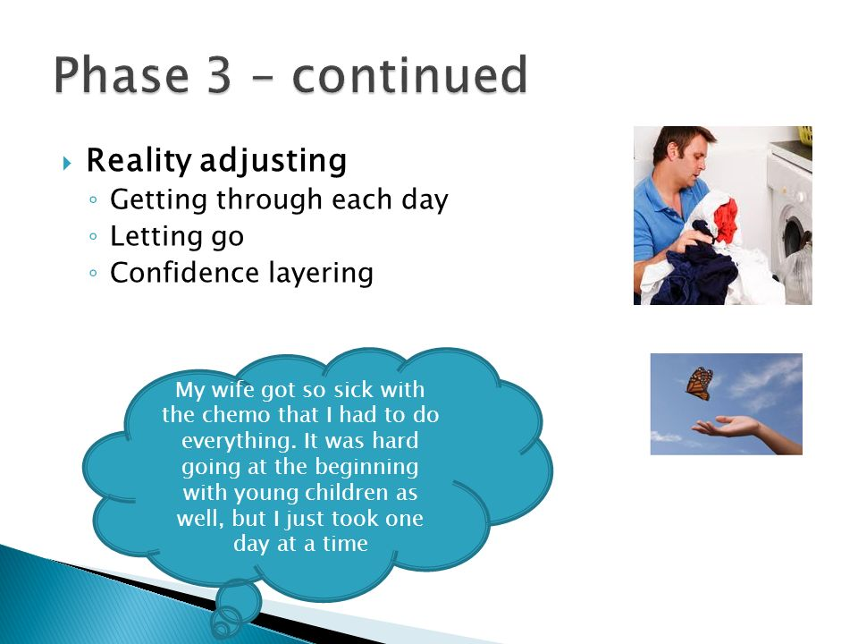 Phase 3 – continued Reality adjusting Getting through each day