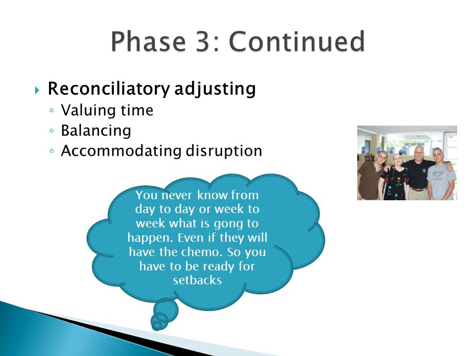 Phase 3: Continued Reconciliatory adjusting Valuing time Balancing