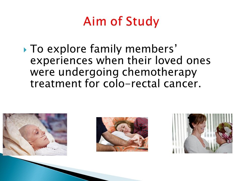 Aim of StudyTo explore family members' experiences when their loved ones were undergoing chemotherapy treatment for colo-rectal cancer.