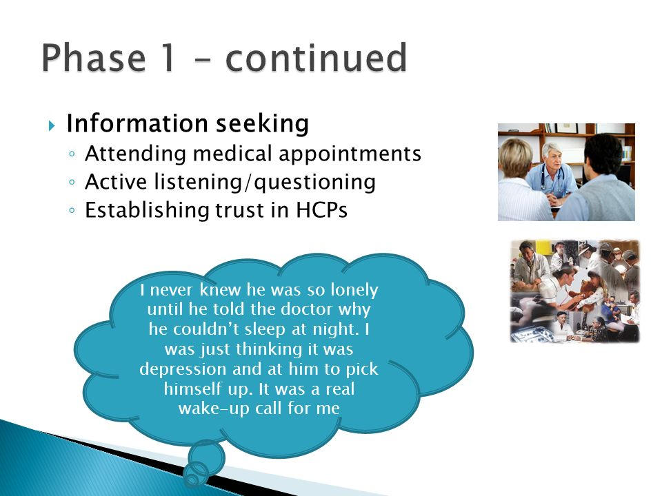 Phase 1 – continued Information seeking Attending medical appointments