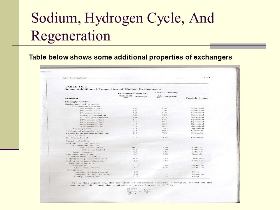 Sodium, Hydrogen Cycle, And Regeneration
