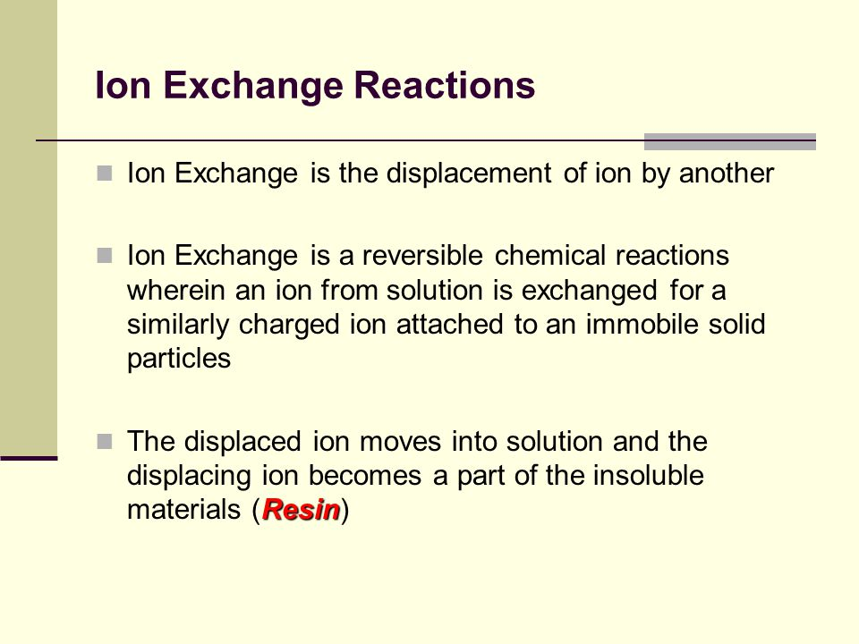 Ion Exchange Reactions