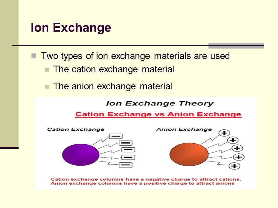 Ion Exchange Two types of ion exchange materials are used