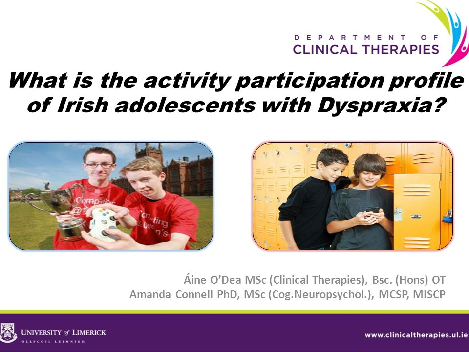 What is the activity participation profile of Irish adolescents with Dyspraxia