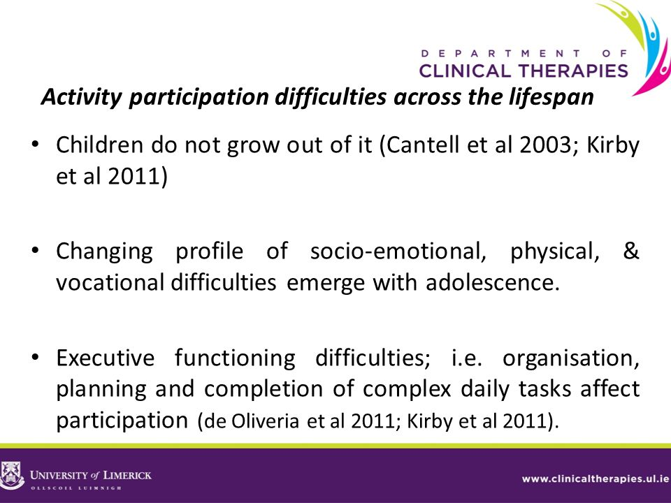 Activity participation difficulties across the lifespan