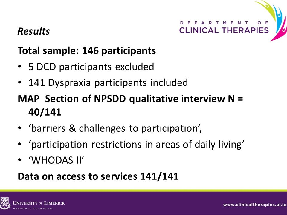 Results Total sample: 146 participants. 5 DCD participants excluded. 141 Dyspraxia participants included.