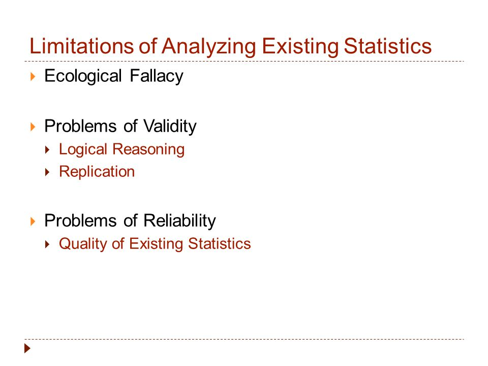 Limitations of Analyzing Existing Statistics