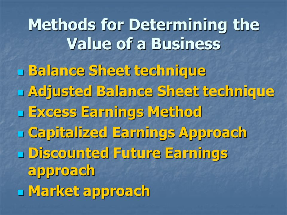 Methods for Determining the Value of a Business