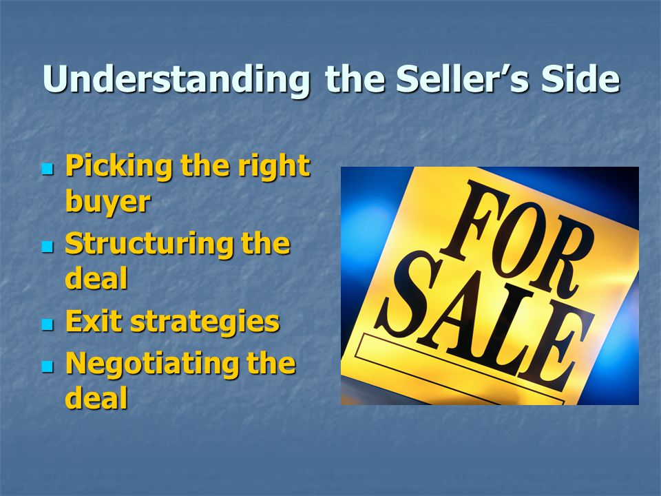 Understanding the Seller's Side
