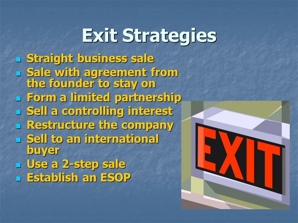 Exit Strategies Straight business sale