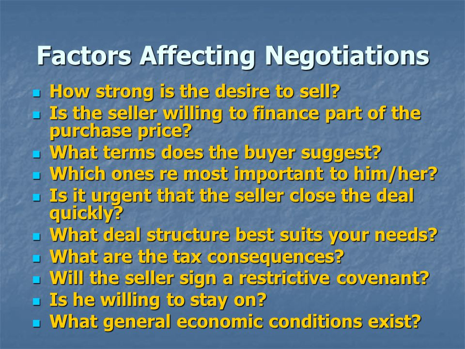 Factors Affecting Negotiations