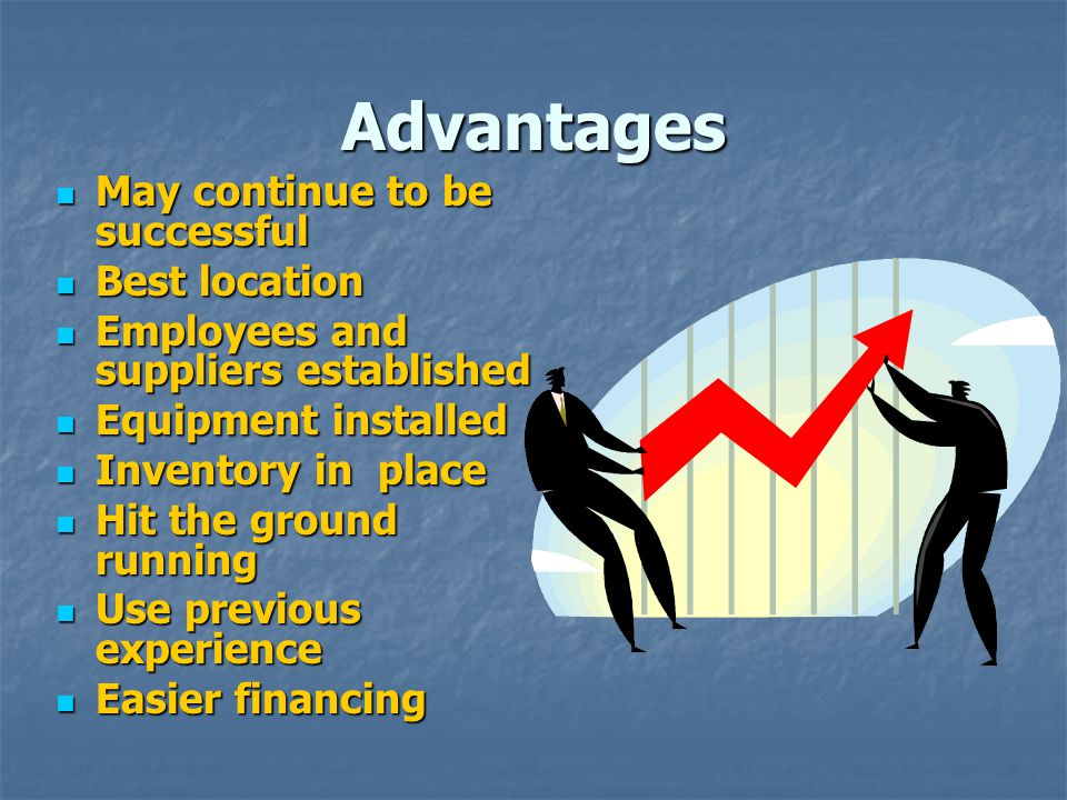 Advantages May continue to be successful Best location