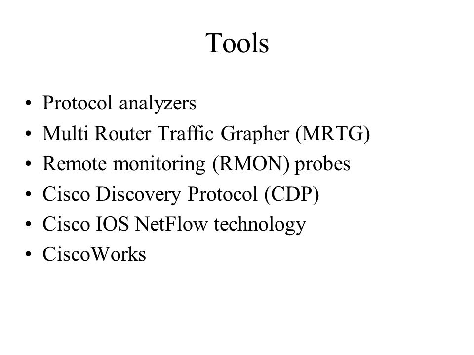 Tools Protocol analyzers Multi Router Traffic Grapher (MRTG)