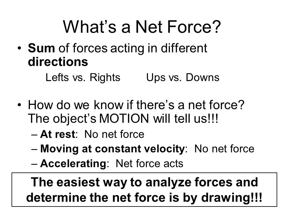 What's a Net Force Sum of forces acting in different directions