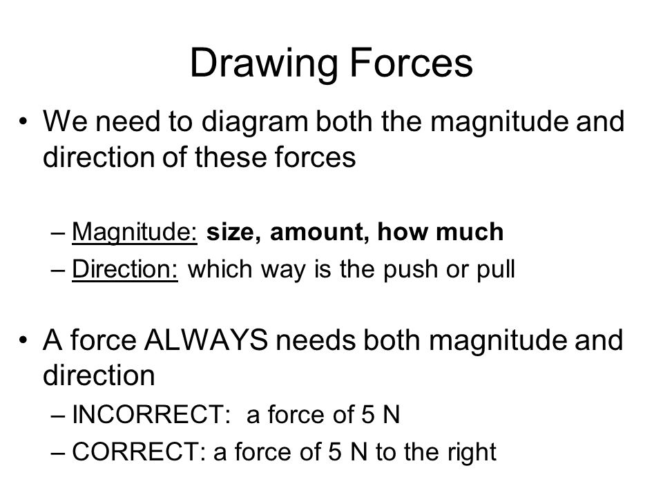 Drawing Forces We need to diagram both the magnitude and direction of these forces. Magnitude: size, amount, how much.
