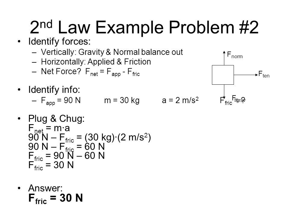 2nd Law Example Problem #2