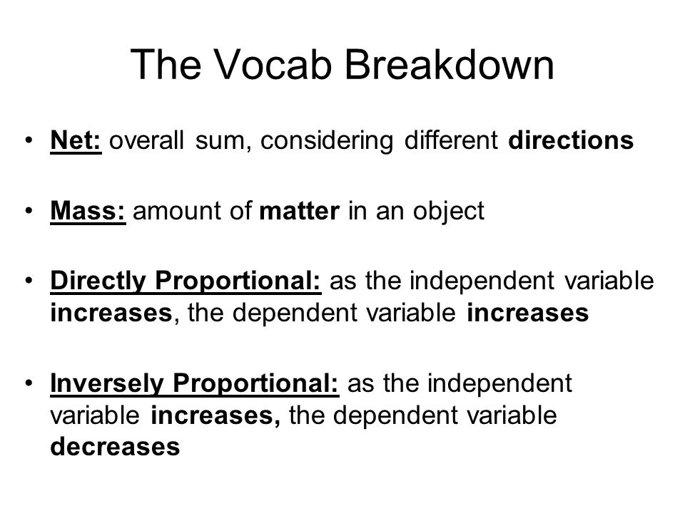 The Vocab Breakdown Net: overall sum, considering different directions
