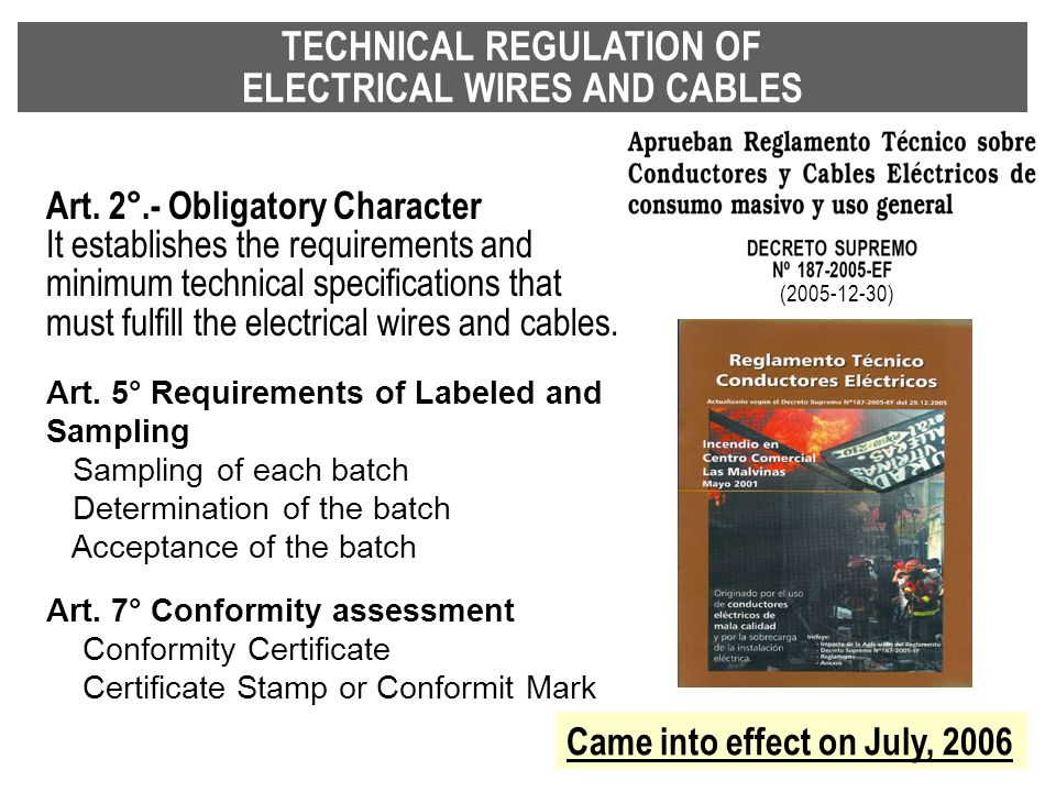 TECHNICAL REGULATION OF ELECTRICAL WIRES AND CABLES